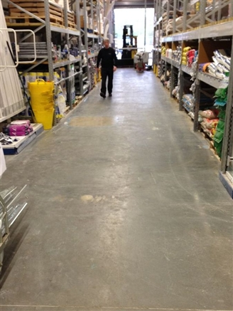 The painted concrete in aisles before polishing.