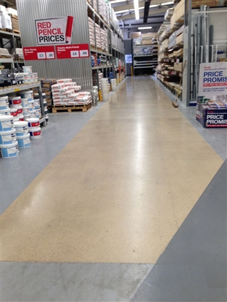 Eight weeks after re-opening of the store. No signs of tyre marks, dirt or wear and tear on the polished concrete areas.