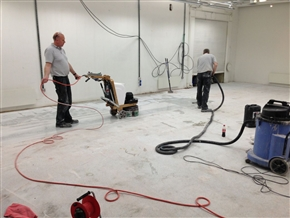 Once the paint and other contamination is removed, we cary on grinding and polishing to build up a shine on the floor.