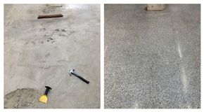 Here is an area covered with cement. We have to take care when removing it to avoid damaging the terrazzo underneath.